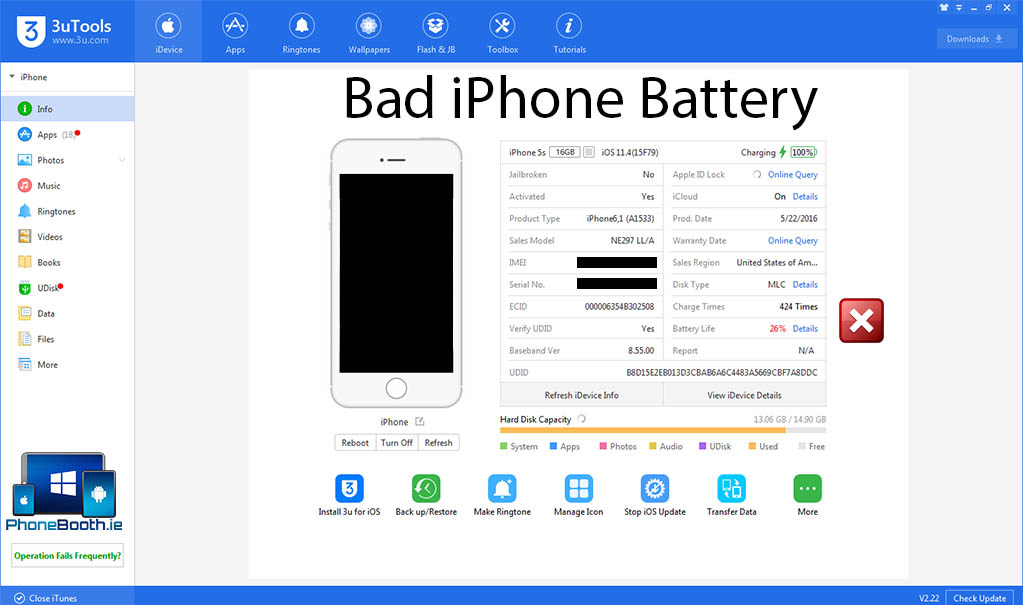3uTools bad iphone battery reading for apple lightning cables