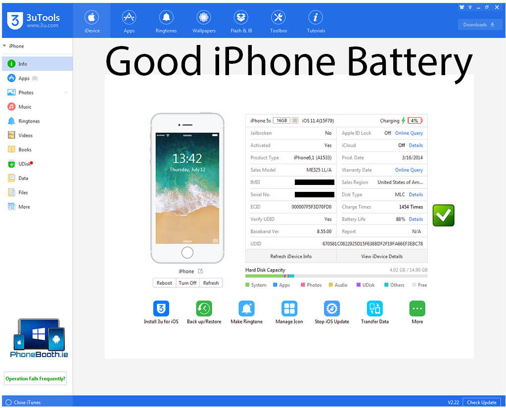 3uTools good iphone battery reading for apple lightning cables